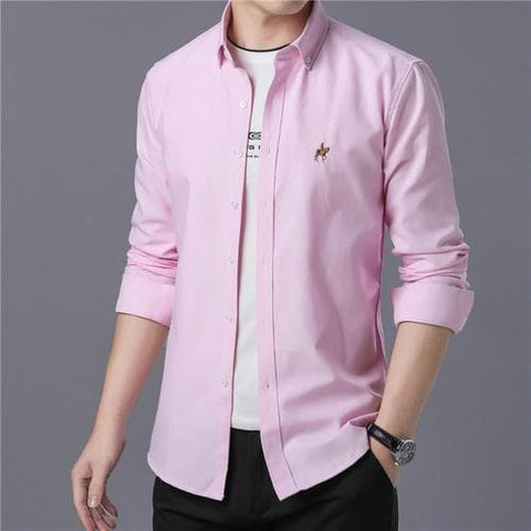 Single Breasted Embroidery Cotton Short Sleeve Casual Slim Fit Social Shirts