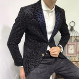 Contrast Collar Leopard Print Slim Fit 2 Button Blazer