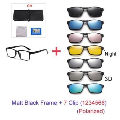 7 In 1 Magnet Polarized Clip On Square TR90 UV400 3D Optic Frames Sunglasses