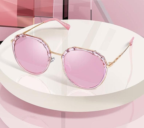 Oval Polarized Fashion Trending Pink Sun Sunglasses UV400 Protection