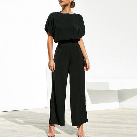 Short sleeve Loose Overalls Black Jumpsuits