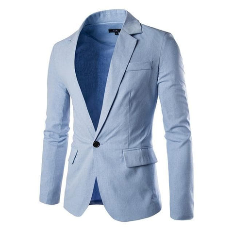 Linen Slim Fit Long Sleeve Single Button Blazer