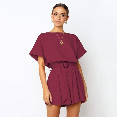 Short Sleeves Casual Wide Leg Rompers Jumpsuit