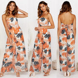 Floral Print Lace Up Bohemian Strapless Backless Wide Leg Rompers Jumpsuit