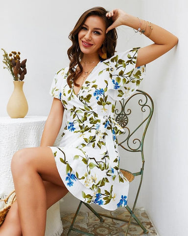 Floral Print Bohemian Irregular Short Sleeves Ruffle Sundress Boho Dress