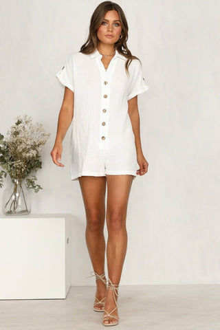 Short Sleeves Turn-Down Collar Short Rompers Jumpsuit
