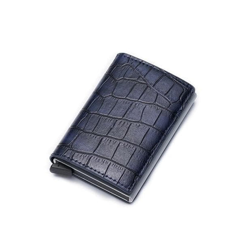 PU Leather Metal RFID Vintage Aluminium Box Travel Card Wallet