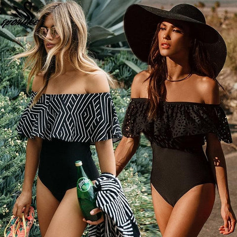 Off Shoulder One Piece Ruffle Monokini Swimsuit Bathing Suit