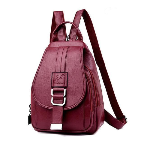 Anti Theft Leather Vintage Shoulder Bag Backpack