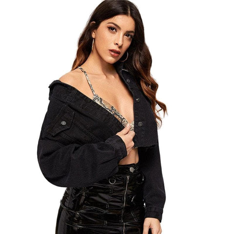 Drop Shoulder Pocket Ripped Crop Long Sleeve Black Single Breast Denim Jacket