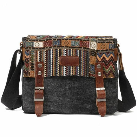 Ethnic style Vintage Canvas Messenger Square Belt Buckle Bag