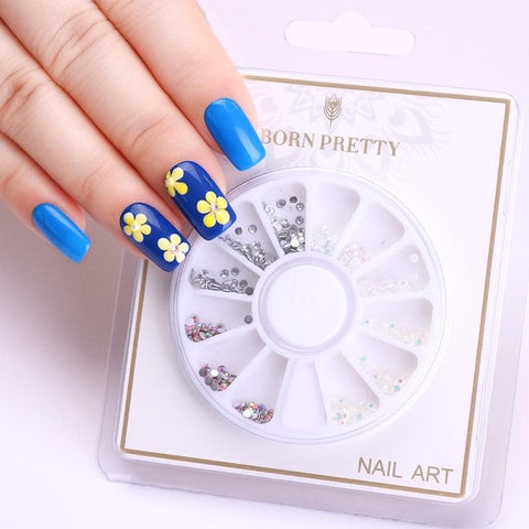 AB Color Nail Rhinestone Flat Bottom 2.5mm Clear Colorful Back Resin Manicure 3D Nail Art Decoration in Wheel
