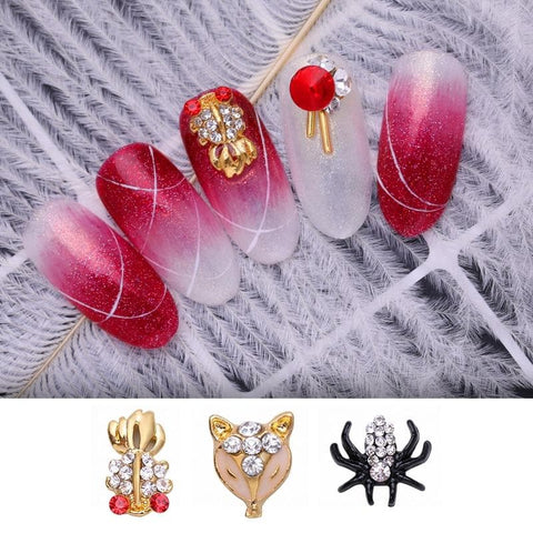 Rhinestones Flat Bottom Crystal Animal Shining Stones Mixed Size Fish Spider 5/10Pcs Nail Art