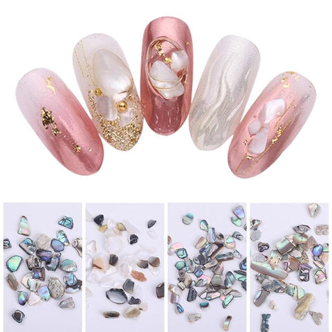 5g Holographic 3D Nail Seashell Mixed Patterns Glitter Pearlescent Natural Colorful Stone Nail Art Design Decorations