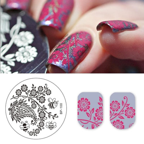 Arabesque Honeybee Floral Designs Nail Stencil for Nail Art Templates Nail Stamping