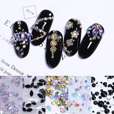 Rhinestones Black AB Colorful Crystal Stones Marquise Flat Back Mixed Size Design 3D Nail Art Decorations