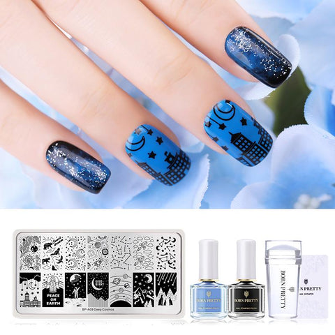 Nail Art Stamping Set Nail Clear Jelly Stamper Scraper Stamping Template Tools With 2 Bottles Stamping Nail Polish