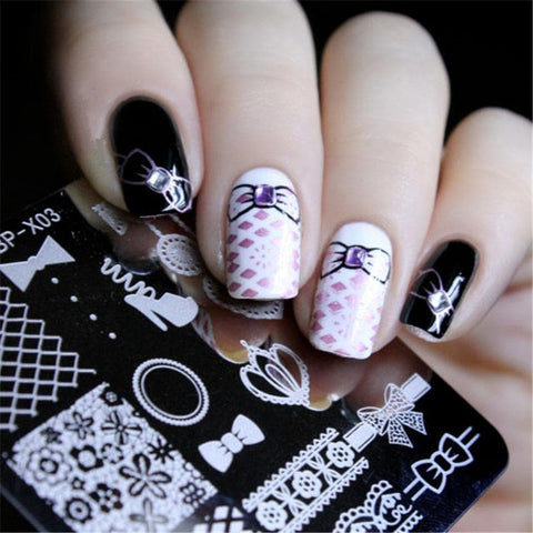 Lace High Heel Design Image Printing Plate Manicure Nail Art Stencil 6cm Square Stamp Template