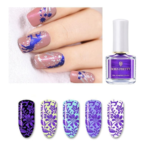 6ml Purple Color Series Nail Stamping Polish Lacquer