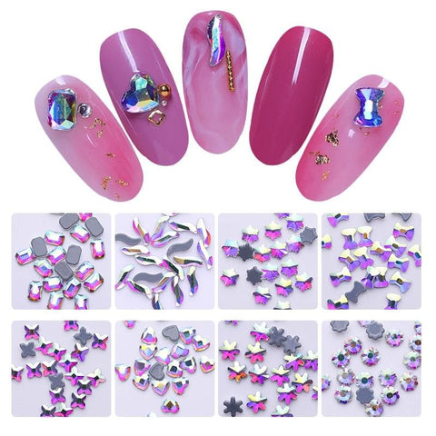 20 Pcs/Bag Nail Rhinestones Flat Back AB Colorful Crystal Beads 3D Nail Art Decorations
