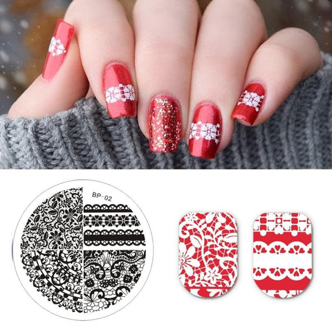 Chic Lace Pattern Nail Art Flower Floral Image Manicure Stencil