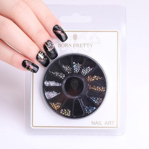 1mm 3mm Chameleon Studs Stones Gradient Irregular Mixed Size Colorful Beads 3D Nail Art Decoration in Wheel