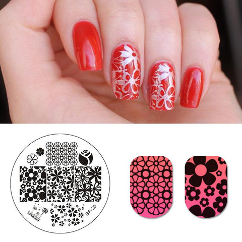 Mixed Flower Design Image Nail Art Stamp Template Floral Nail Art Stencil
