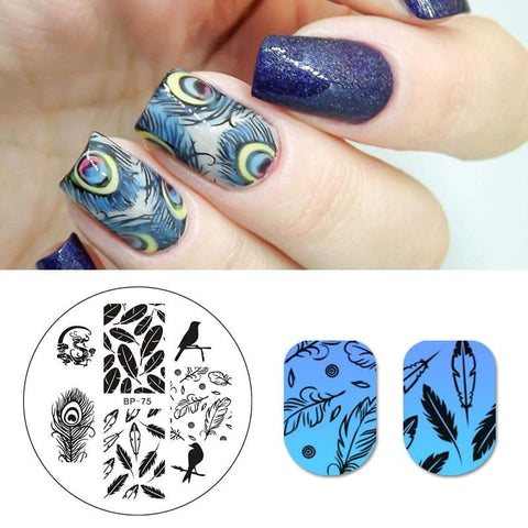 Birds Dragon Feather Nail Art Print Template Design