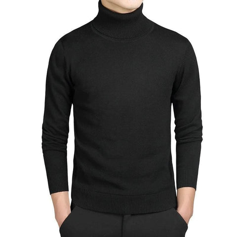 Turtleneck Cotton Slim Fit Knitted Long Sleeve Sweater Pullover