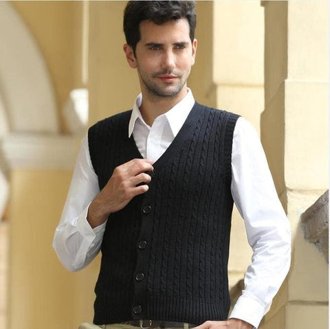 100% Cotton Sleeveless Wool Knitted Single Breasted V-neck Waistcoat Vest Sweaters Cardigan