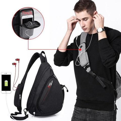 "USB Charge Crossbody Anti theft large capacity 10.5"" Shoulder Chest Bags"