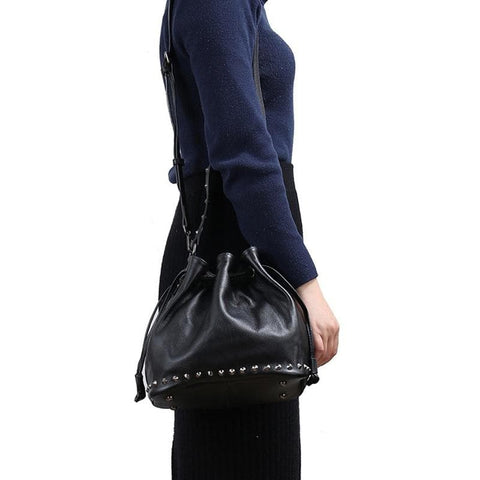 Cowhide Leather Handbag Shoulder Bag With Rivets