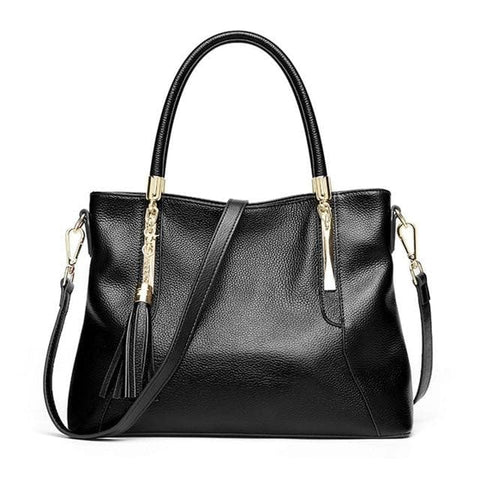 100% Genuine Leather Tote Shoulder Bag With Tassel