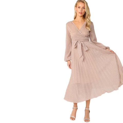 Surplice Neck Belted Pleated Glitter V neck Wrap A Line High Waist Glamorous Pink Dress