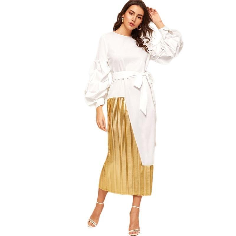 aefb52ff34e Lantern Sleeve Belted 2 In 1 Pleated Patchwork Straight Glamorous White  Dress