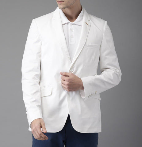 White Single Breasted Cotton Blazer