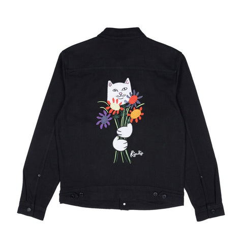 Rip N Dip Nermcasso Flower Denim Jacket BLACK