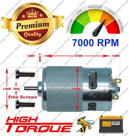 RS775 High RPM Torque 12V Brushed DC Big Strong Motor (Multicolor)