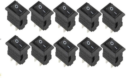 2 Pin ON/OFF I/O SPST Snap in Mini Rocker Switch (Pack of 10) - Robodo