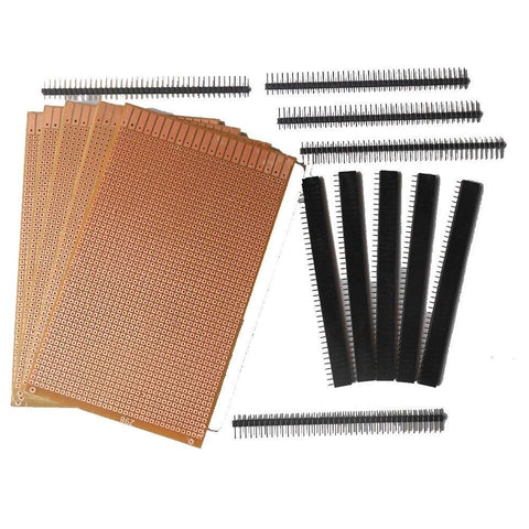 General Purpose Printed Circuit Board, 5 Pieces and Female Berg Strip, 5 Pieces with Male Berg Strip, 5 Pieces - Robodo