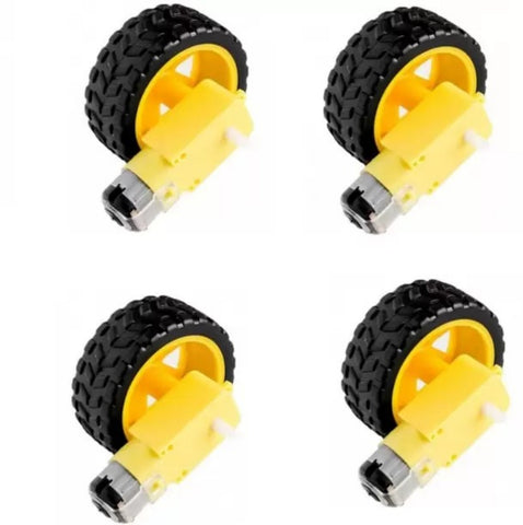 Dual Shaft BO Motor with Wheel, 4 Pieces - Robodo