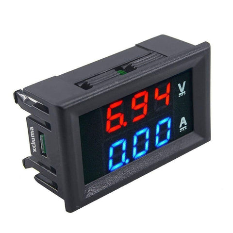 Digital Voltmeter Ammeter DC 0-100V 10A Dual LED Monitor Panel, Red and Blue - Robodo