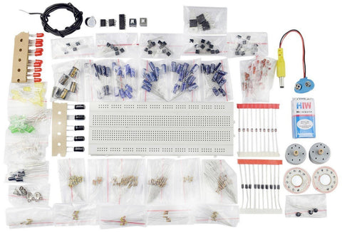 Electronic Components Project Kit or Breadboard, Capacitor, Resistor, LED, Switch - Robodo