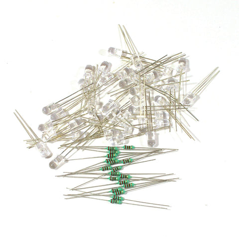5 mm LED Light Emitting Diodes Electronic 1/4 W 220R Resistors Pack of 105 (Blue)