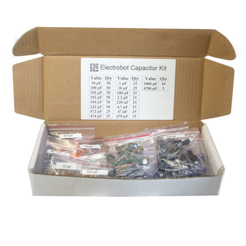 Labeled 18 Values Ultimate Capacitor Kit (Pack of 555) - Robodo