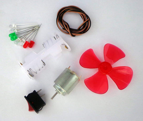 Basic Motor Hobby Kit Ii 13 Items In 1 Kit (Hobby Dc Motor + Battery Holder + Switch + 8 Leds + Propeller + Wire) With User Manual
