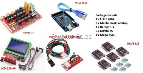 3D Printer Kit Ramps 14 Plus 12864 LCD Plus Arduino Mega 2560 Plus Drv8825 Driver Module - Robodo