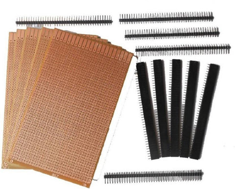 General Purpose Printed Circuit Board, 5 Pieces + Female Berg Strip, 5 Pieces + Male Berg Strip, 5 Pieces  (Multicolor)