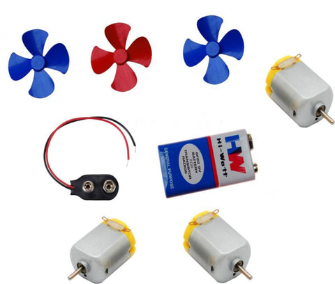 3 Pcs Mini Toy Motor + 3 pcs Fan blade for RC Car, toys,science projects DIY  (Multicolor) - Robodo
