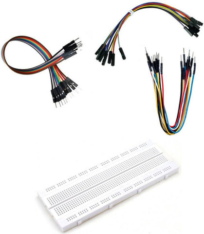840 Point Breadboard with 10 pc Male To Male 10 Pc male To Female 10 Pc Female to Female Jumper Wires  (Multicolor) - Robodo
